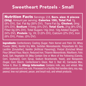 Candy Club Sweetheart Pretzels -- Crisp heart shaped yogurt pretzels covered with red nonpareils -- Nutritional Information