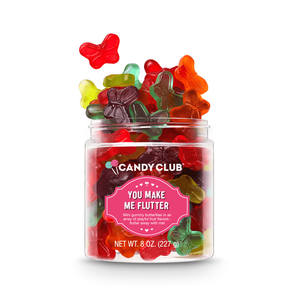 Candy Club You Make Me Flutter gummy candy -- mild gummy butterflies in an array of playful fruit flavors; flutter away with me!