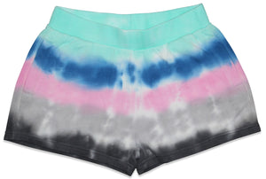Candy Pink Girls | Tie Dye Shorts | Aqua Stripes