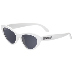 "Cat eye shaped baby and toddler sunglasses -- in ""wicked white"". 100% UVA and UVB protection. Babiators"