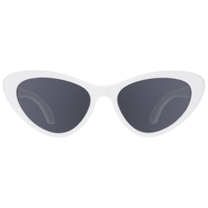 "Cat eye shaped baby and toddler sunglasses -- in ""wicked white"". 100% UVA and UVB protection. Babiators. Front view."