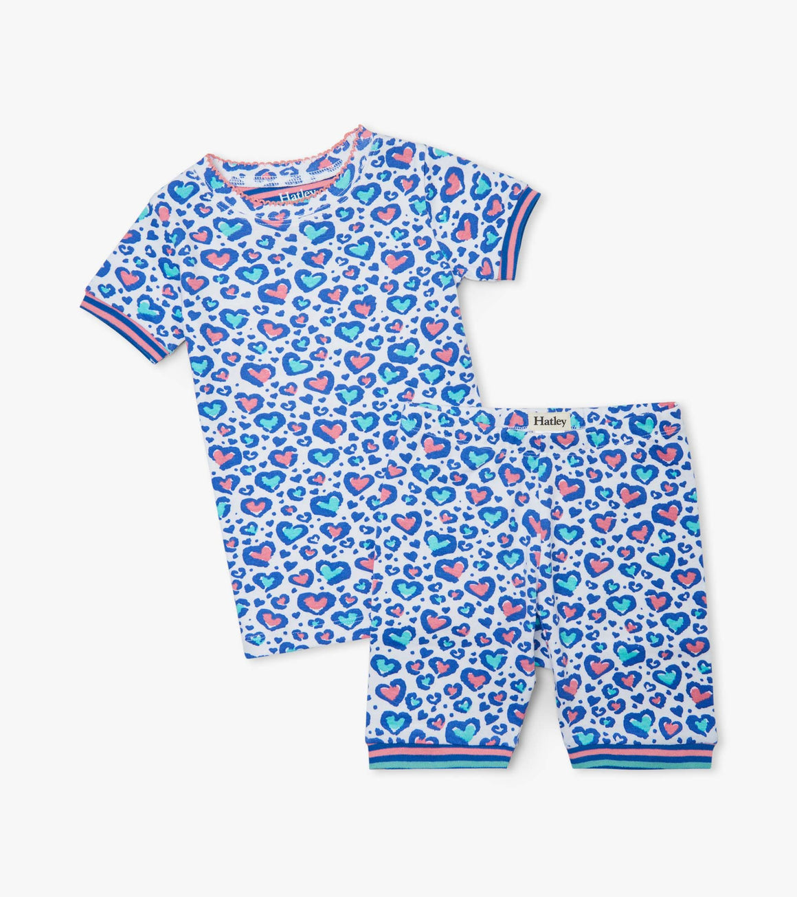 Hatley | Cheetah Hearts Organic Cotton Pajama Shorts Set