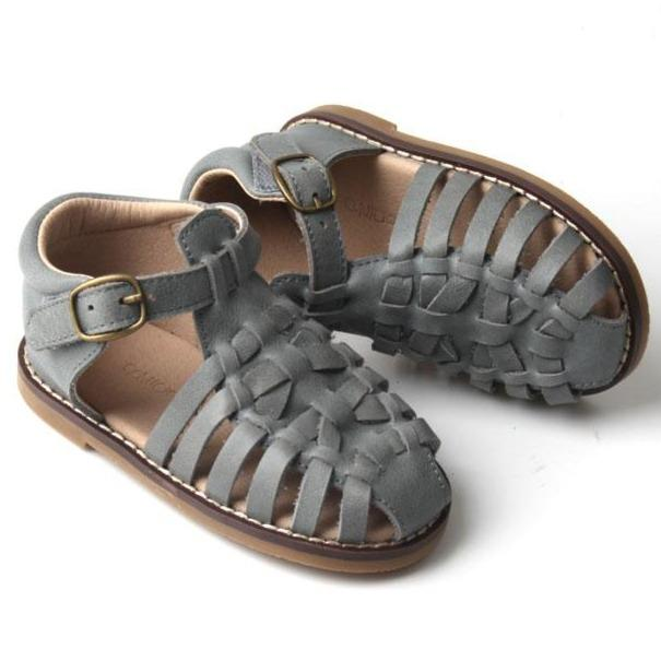 Consciously Baby | Leather Indie Sandal | Slate Hard Sole