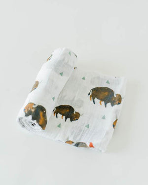 Little Unicorn | Cotton Muslin Swaddle Blanket | Bison