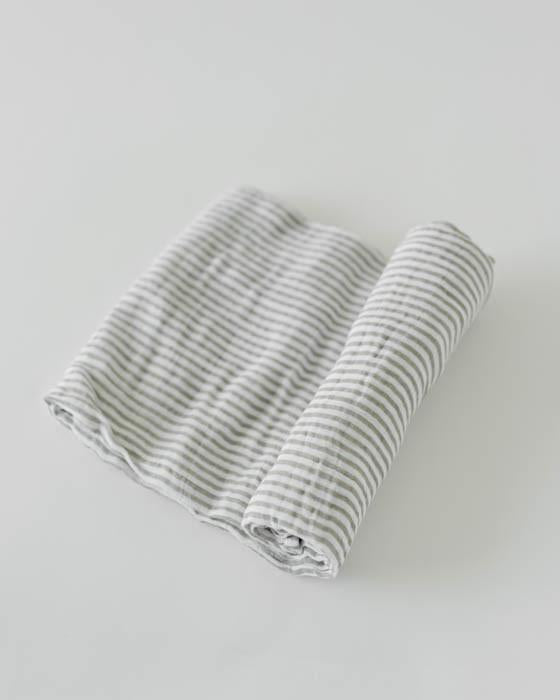 Little Unicorn | Cotton Muslin Swaddle Blanket | Grey Stripe