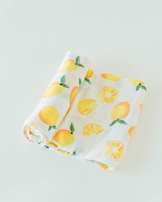 Little Unicorn | Cotton Muslin Swaddle Blanket | Lemon