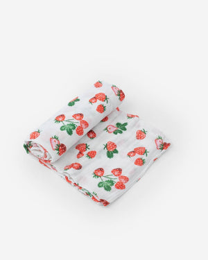 Little Unicorn | Cotton Muslin Swaddle Blanket | Strawberry Patch
