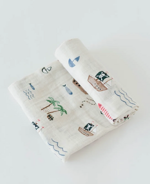 Little Unicorn | Cotton Muslin Swaddle Blanket | Treasure Map