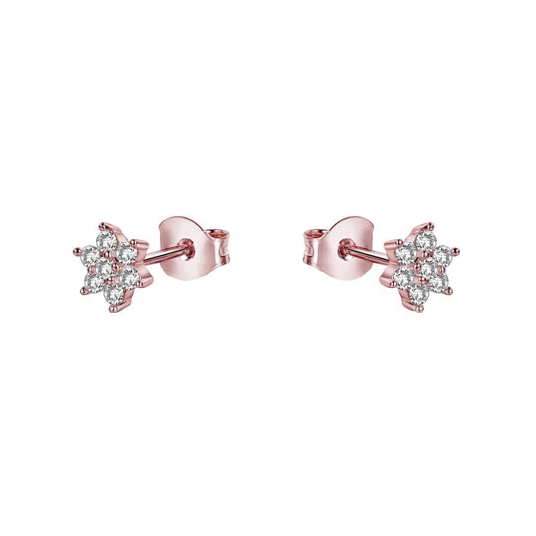CZ Flower Stud Earrings | Rose Gold