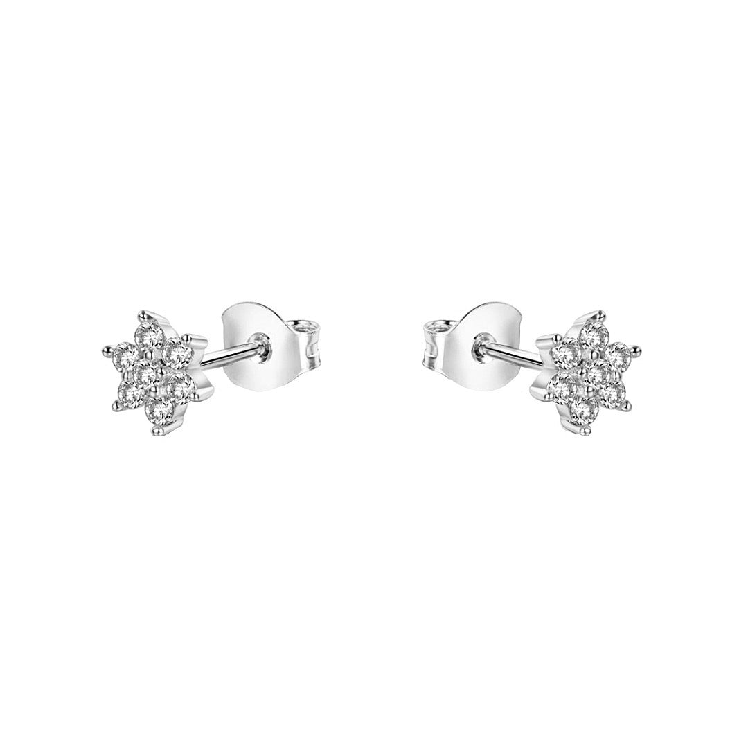 CZ Flower Stud Earrings | Sterling Silver
