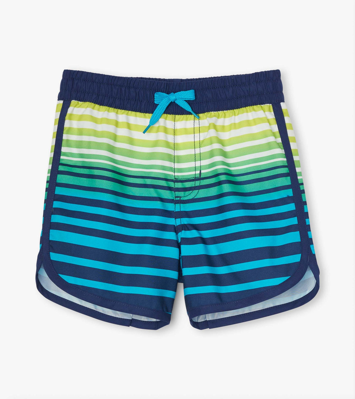 Boys UPF50+ lined quick-dry cool stripes swim shorts. Navy, lime green, aqua to blue ombre print.