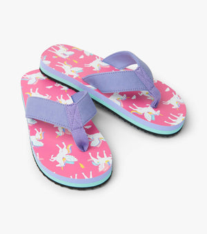 EVA flip flops in hot pink and lavender. Colorful magical pegasus print on footbed. Girls flip flops from Hatley.