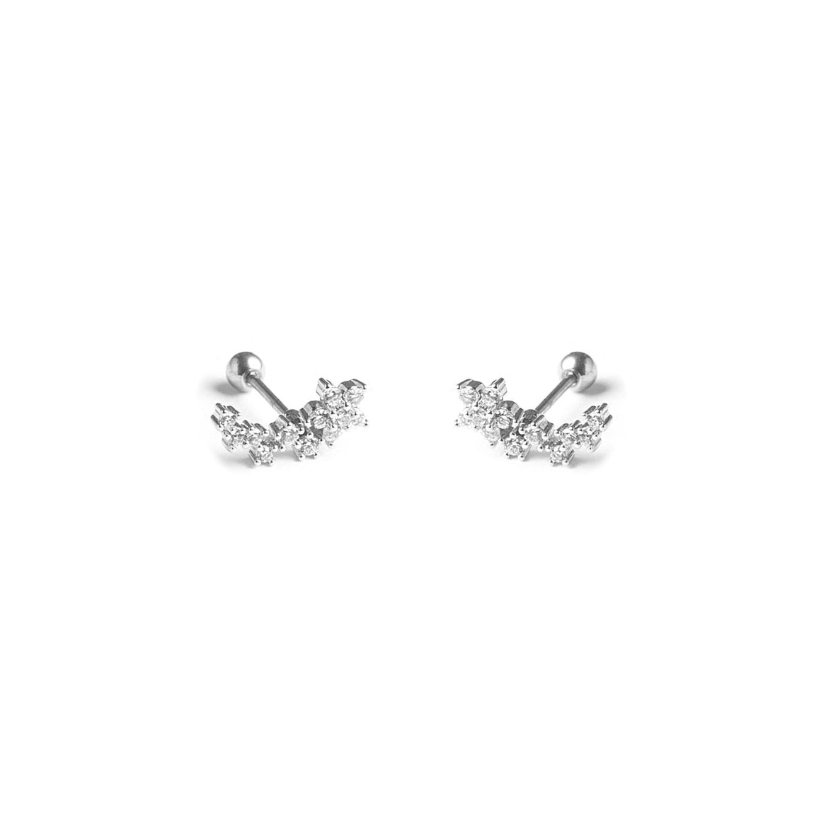 Flower CZ Diamond Curved Screw Flat Back Earrings | Sterling Silver