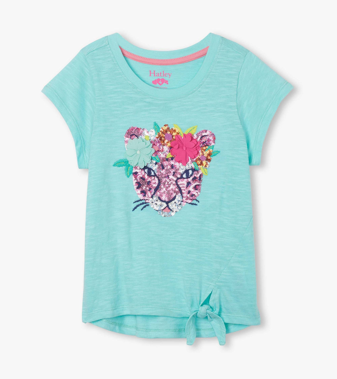 Hatley | Fierce Jungle Cat Sequin Tie Front Tee