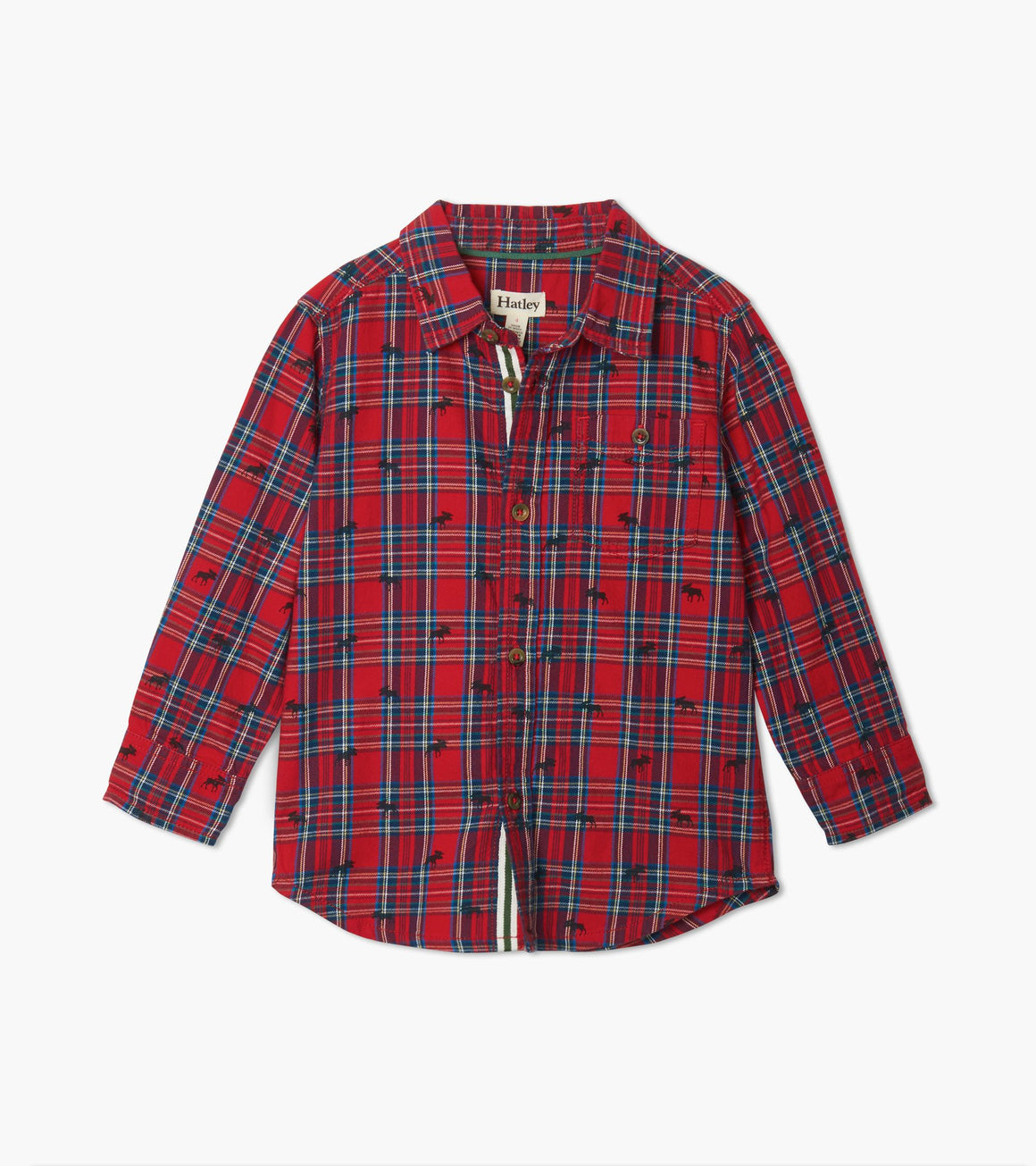 Hatley | Holiday Plaid Moose Button Down Shirt