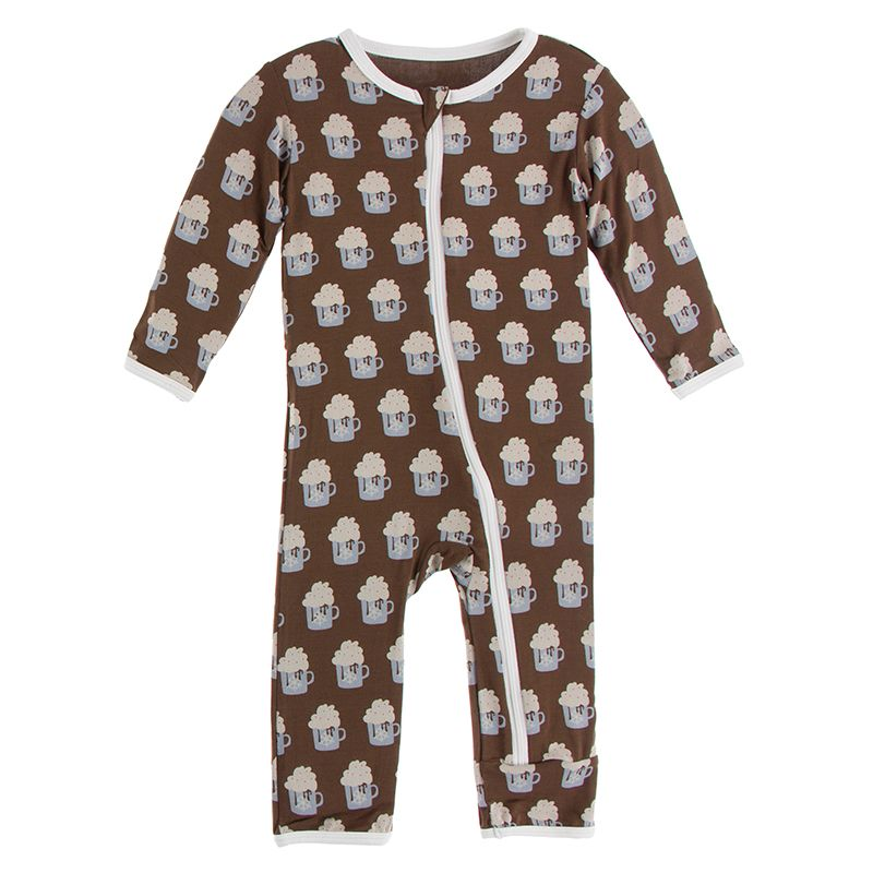 Kickee Pants | Winter Celebrations Zipper Coverall | Hot Cocoa (NEW)