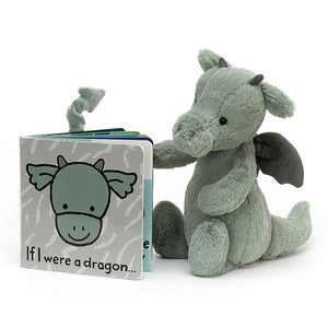 Jellycat If I Were a Dragon board book with Bashful Dragon plush toy stuffed animal. Makes a great baby gift set.