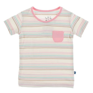 Kickee Pants | Culinary Short Sleeve Tailored Fit Pocket Tee | Cupcake Stripe - NEW