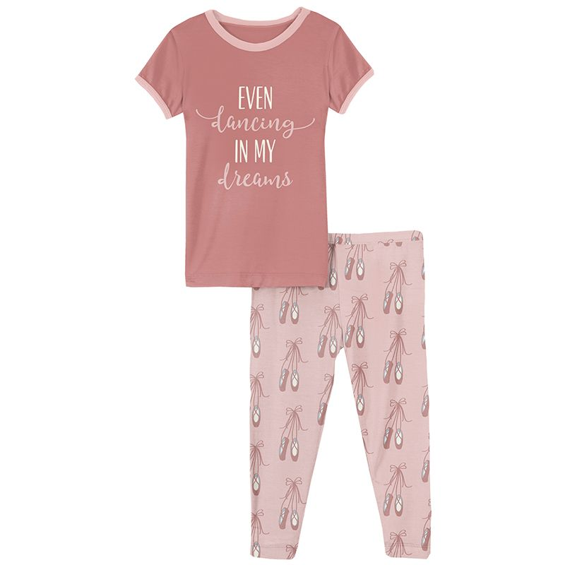 Kickee Pants | Sports Active Careers Short Sleeve Graphic Tee Pajama Set | Baby Rose Ballet