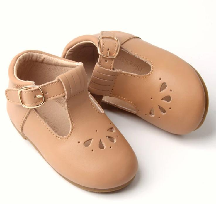 Consciously Baby | Leather Petal T-Bar in Peanut | Toddler Hard Sole