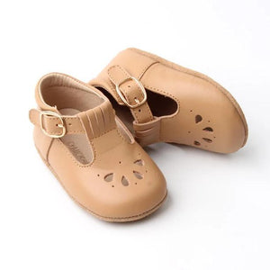 Consciously Baby | Leather Petal T-Bar in Peanut | Baby Soft Sole