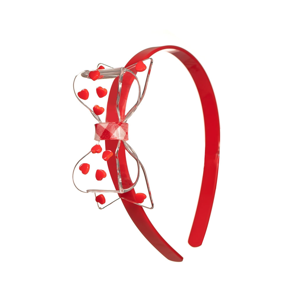 Lilies & Roses NY | Clear Big Bow Acrylic Headband | Red Hearts