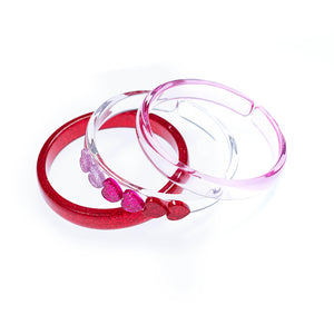 Lilies & Roses NY | Hearts Red Pink Bangle Bracelets | Set of 3