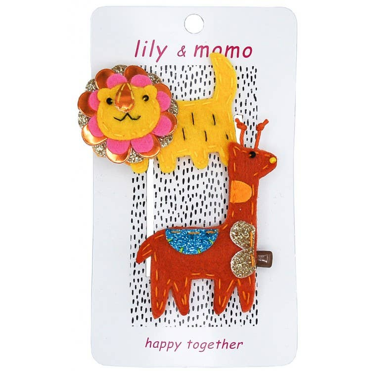 Lily & Momo | Little Lion and Giraffe Hair Clip Set