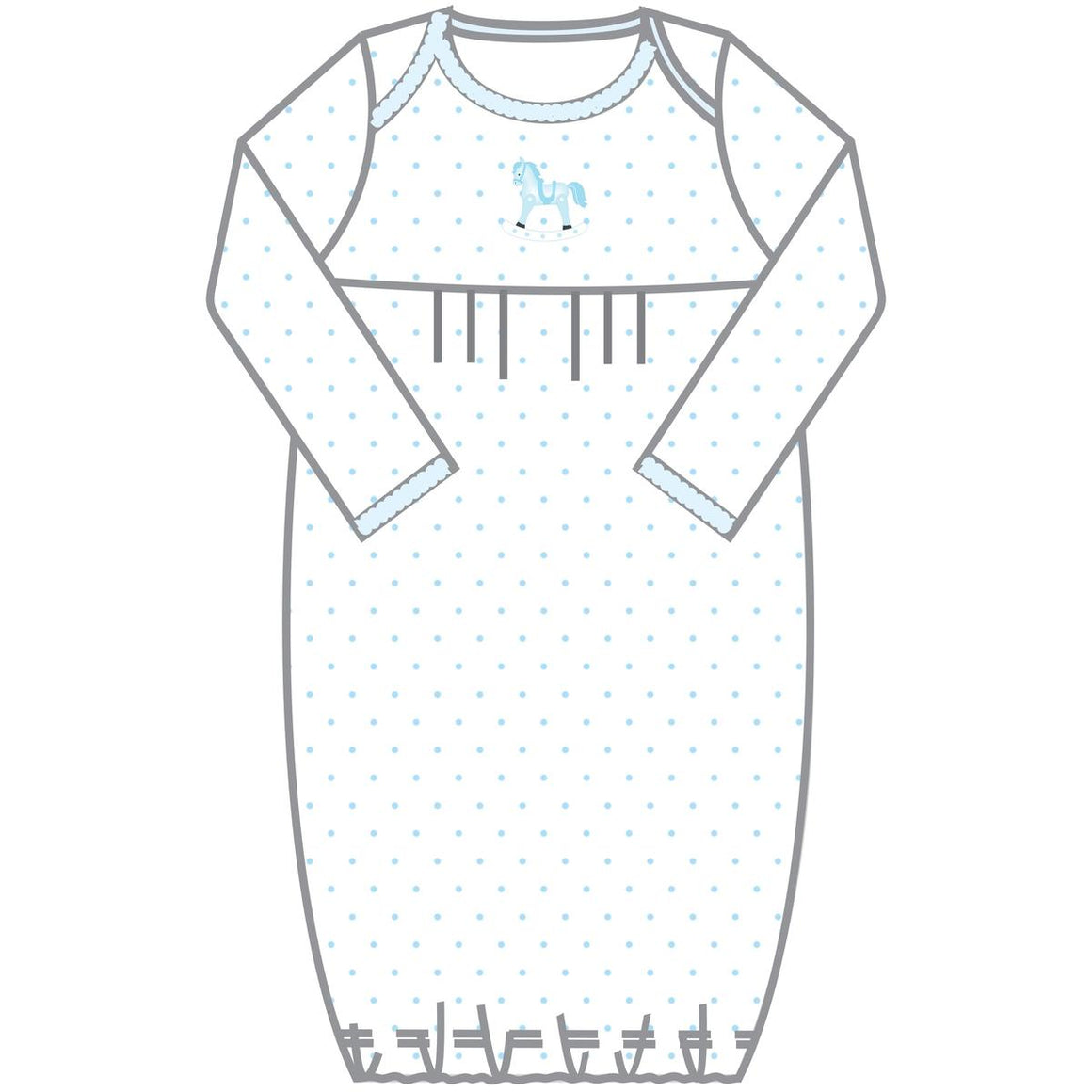 Magnolia Baby | Vintage Hobby Horse Blue Embroidered Pleated Gown