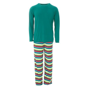 Kickee Pants | Winter Celebrations Men's Long Sleeve Pajama Set | Multi Stripe (NEW)