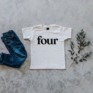 Gladfolk | 'Four' Modern Organic Birthday Tee | Cream