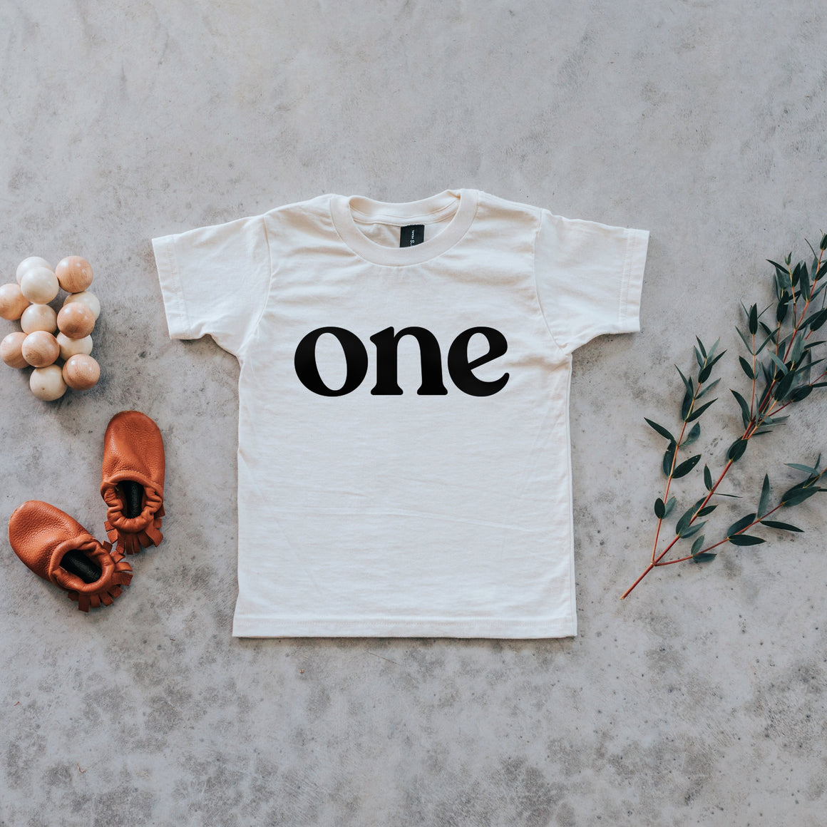 Gladfolk | 'One' Modern Organic Birthday Tee | Cream