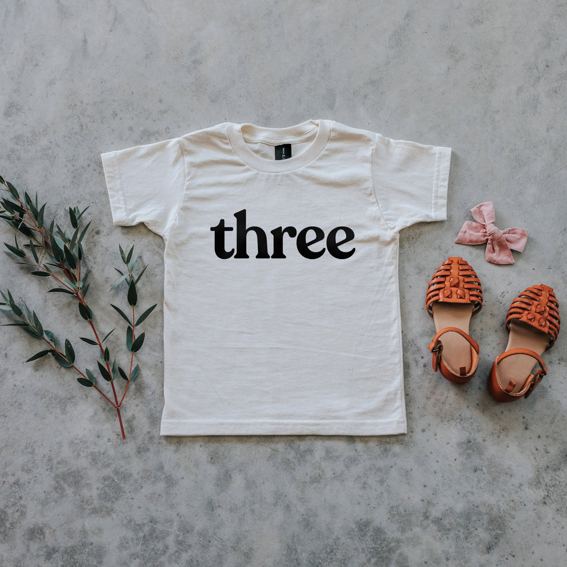 Gladfolk | 'Three' Modern Organic Birthday Tee | Cream