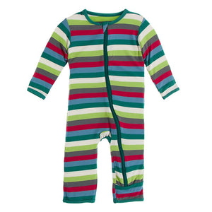Kickee Pants | Winter Celebrations Zipper Coverall | Multi Stripe (NEW)