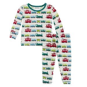 Kickee Pants | Winter Celebrations Long Sleeve Pajama Set | Natural Toy Train (NEW)
