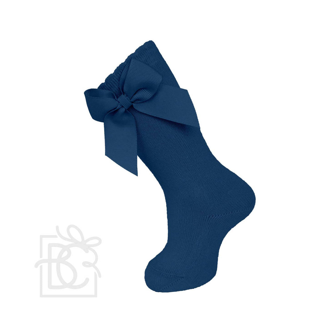 Carlomagno | Knee Socks With Gross Grain Side Bow | Navy