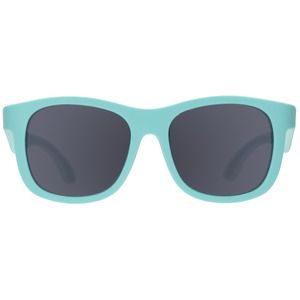 "Original navigator baby and toddler sunglasses in ""totally turquoise"". 100% UVA and UVB protection. Babiators. Front view."