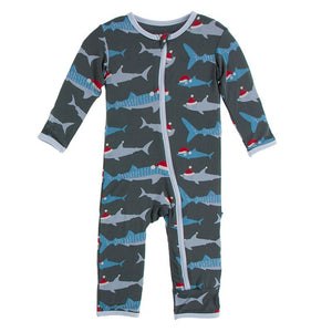 Kickee Pants | Winter Celebrations Zipper Coverall | Pewter Santa Sharks