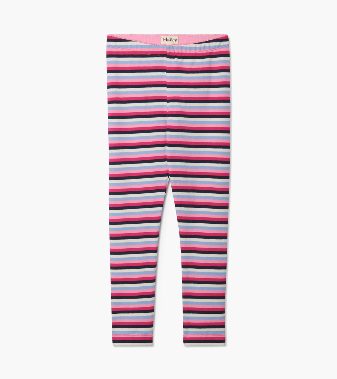 Girls stretch leggings in pink, light blue, white and navy stripe. Front