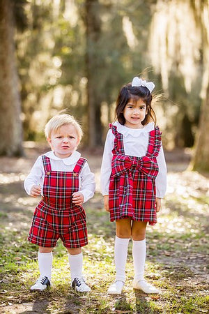 Little Louanne | Prim & Proper Plaid Boys Suspender Set