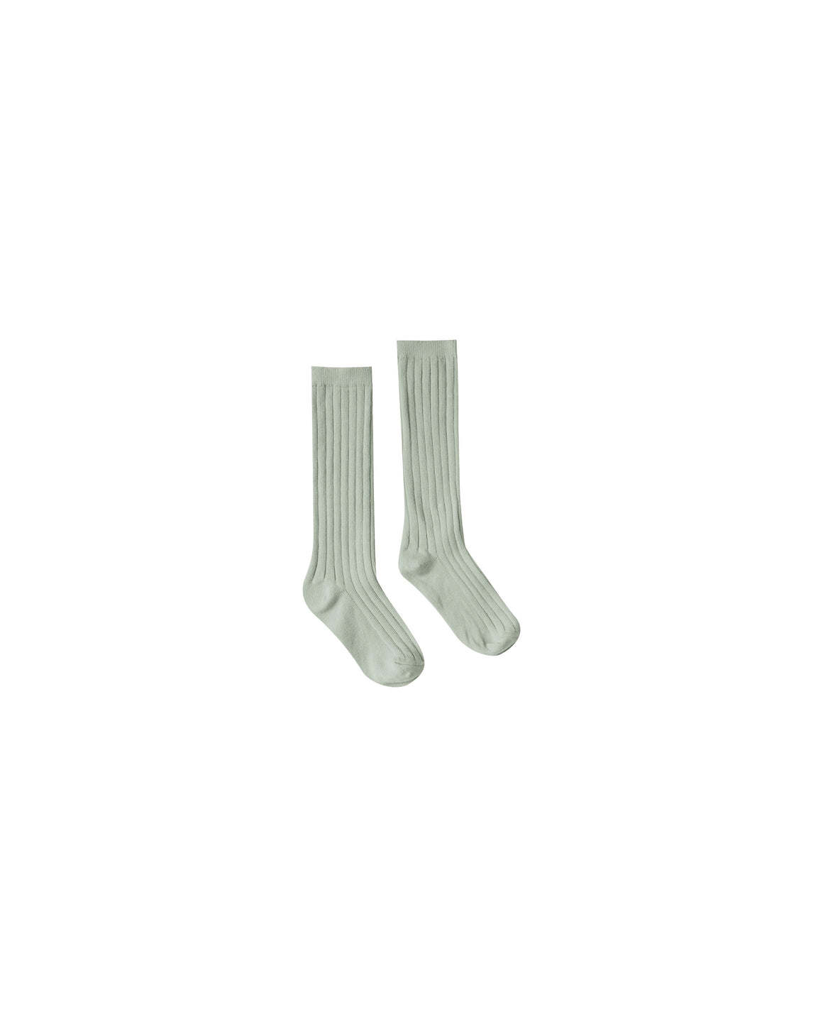 Children's ribbed knee high socks in seafoam green.