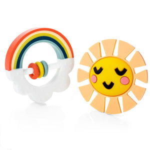 Silicone Little Rainbow teether set. Includes two teethers, rainbow with rattle and sun. For baby. From Lucy Darling.