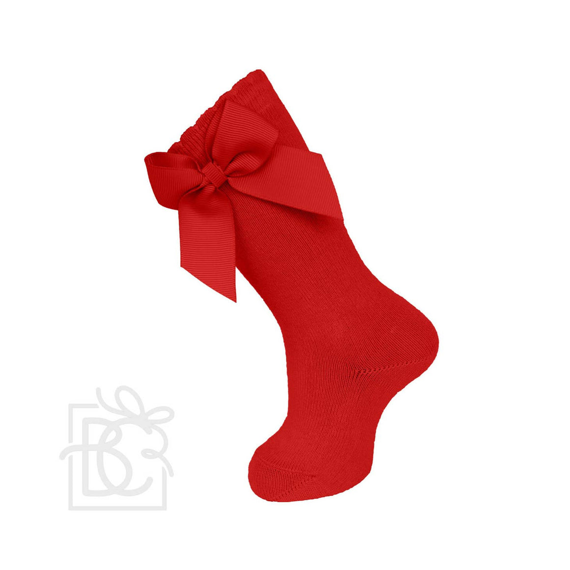 Carlomagno | Knee Socks With Gross Grain Side Bow | Red