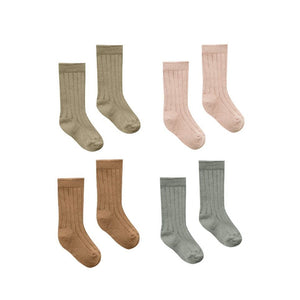 Quincy Mae | Ribbed Baby Socks 4 pack | Olive Petal Walnut Eucalyptus