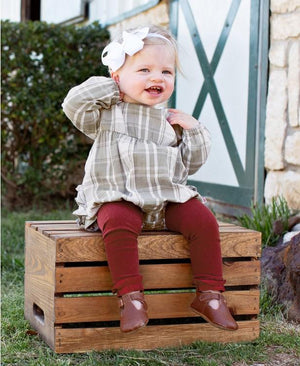 RuffleButts Happy Holidays Cranberry Footless Ruffle Tights on baby girl