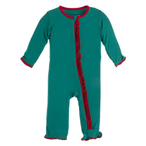 Kickee Pants | Winter Celebrations Zipper Muffin Ruffle Coverall | Ivy / Crimson (NEW)