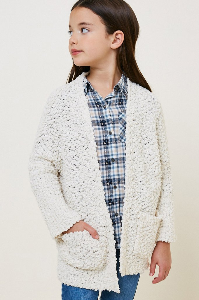 Hayden Girls | Textured Dolman Sleeve Cardigan | Cream