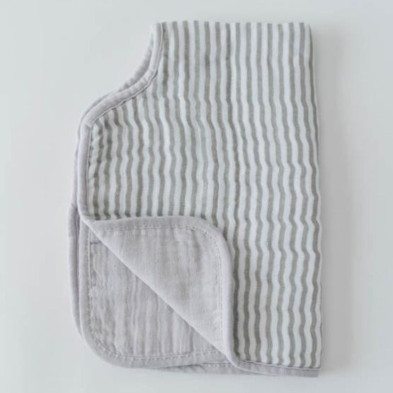 gender neutral grey stripe cotton muslin burp cloth for baby
