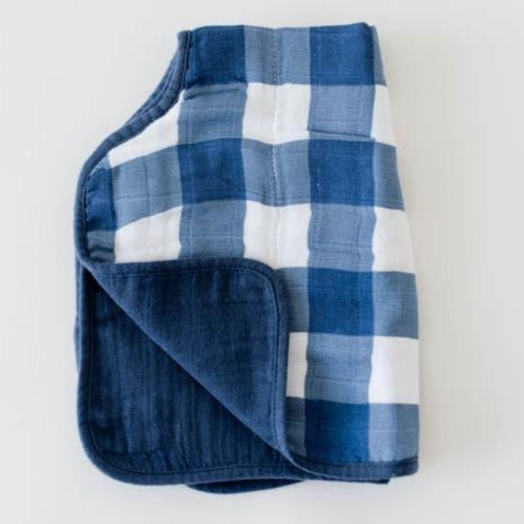 gender neutral reversible baby burp cloth in navy blue plaid