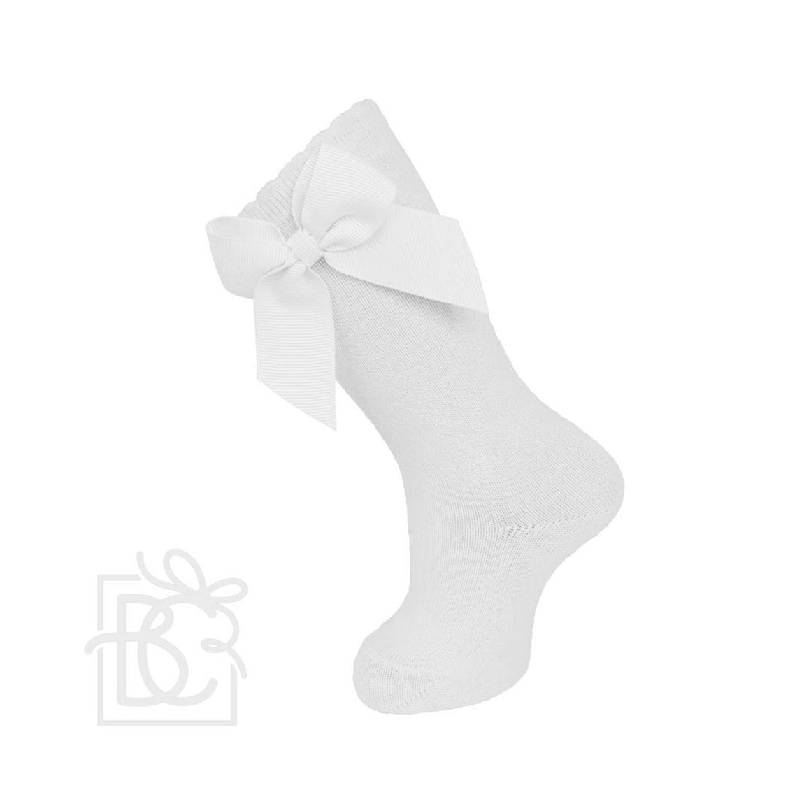 Carlomagno | Knee Socks With Gross Grain Side Bow | White